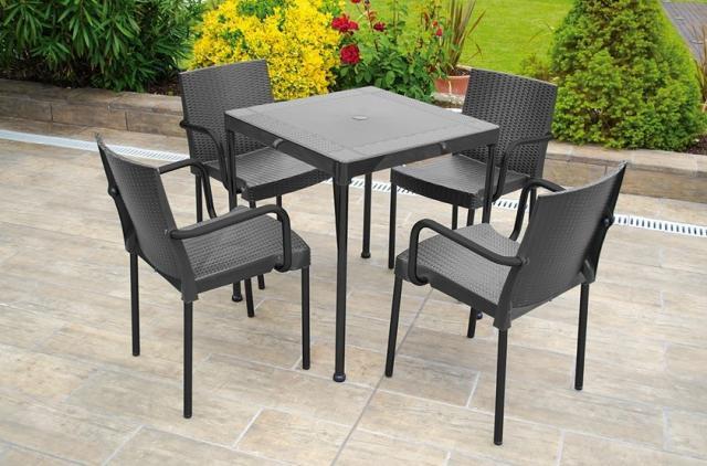 Mesas de polipropileno y patas de aluminio