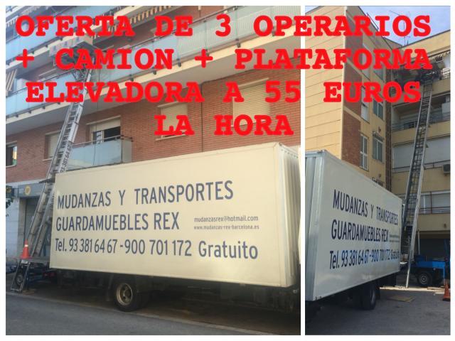 MUDANZAS CON PLATAFORMA ELEVADOR TEL. 933816467