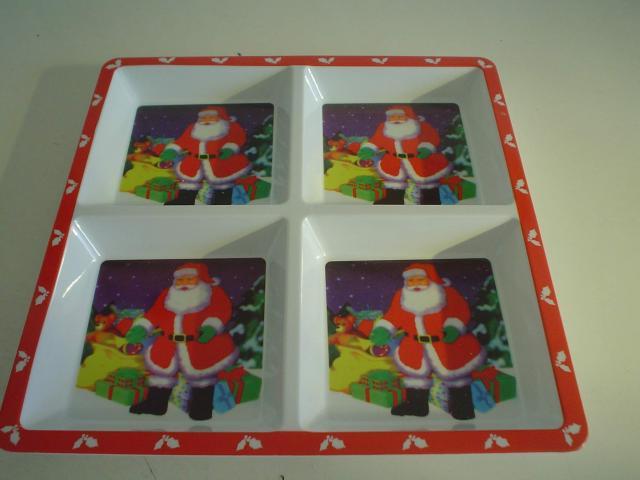 Bandeja de múltiples usos, de plástico, motivos navideños de papa