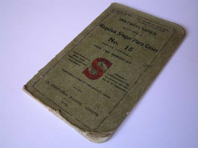 INSTRUCCIONES MAQUINA SINGER PARA COSER No. 15 DE 1922