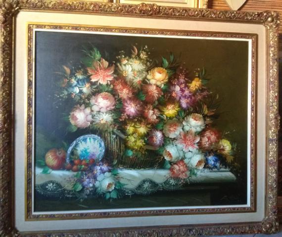 Cuadro óleo floral de Roberto Michel