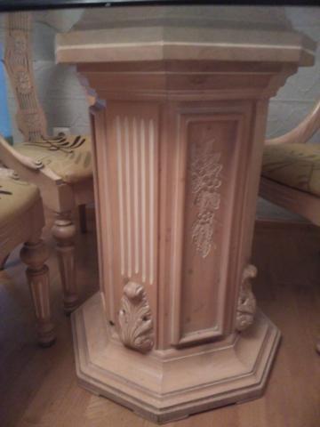 Mesa madera tallada 4 sillas