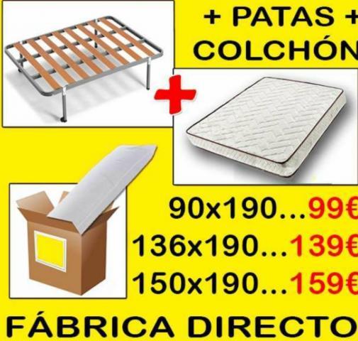 Pack Descanso-Somier Con patas, Colchon Muelles y Almohada Regalo