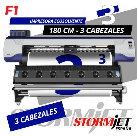 Impresora digital ecosolvente de 3 cabezales StormJet F1-3